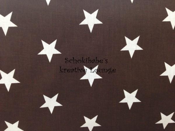 RESTSTÜCK 60 cm Baumwolle Big Stars auf braun
