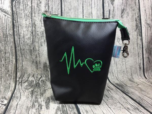 GassiTaschi Herzschlag grün - schwarz Linksträger